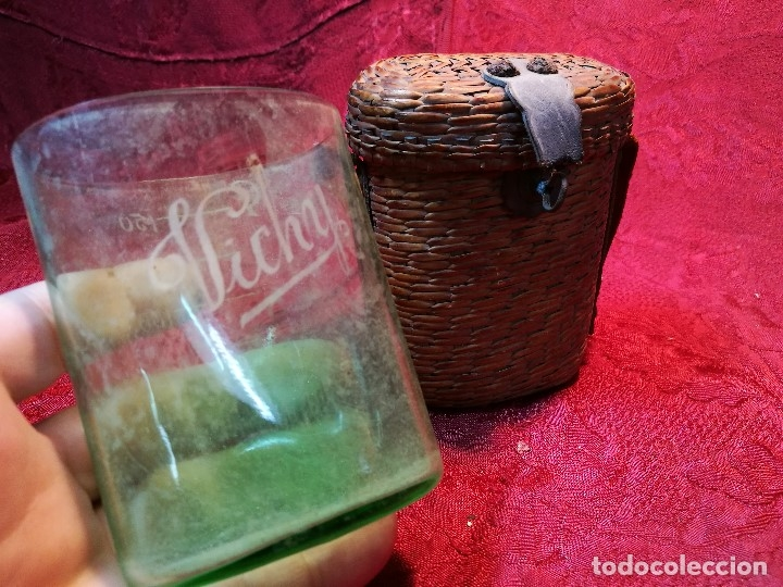 Antigüedades: vaso de petaca o faltriquera de balneario VICHY CALDES DE MALAVELLA...GIRONA ..Modelo siglo XIX - Foto 2 - 120919427