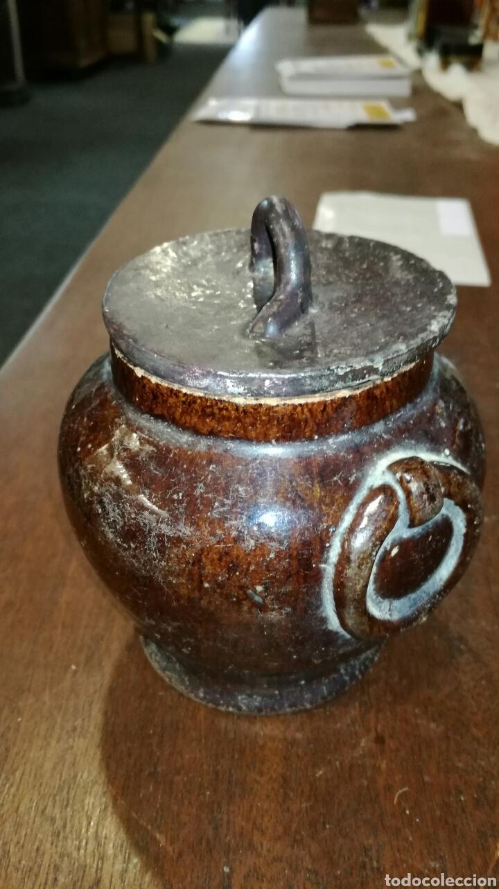 Antigüedades: Puchero de barro muy bonito y antiguo marrón - Foto 2 - 120927862