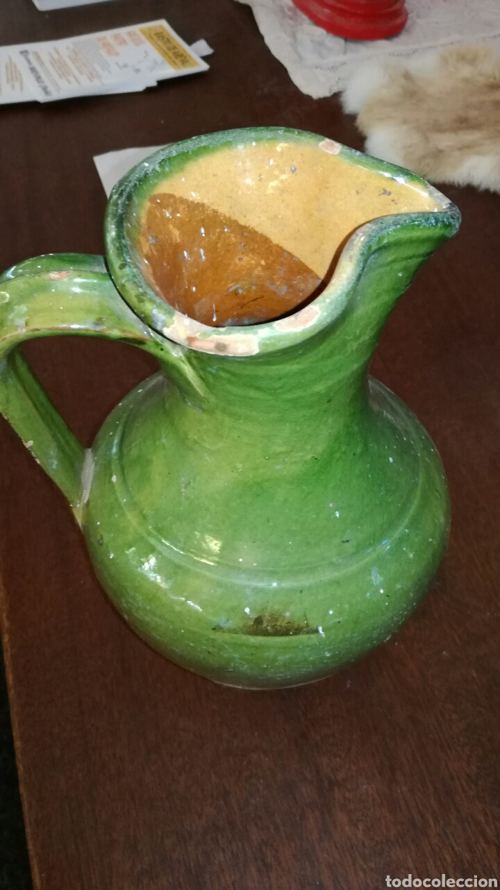 Antigüedades: Jarra de agua antigua vidriada verde - Foto 2 - 120933507