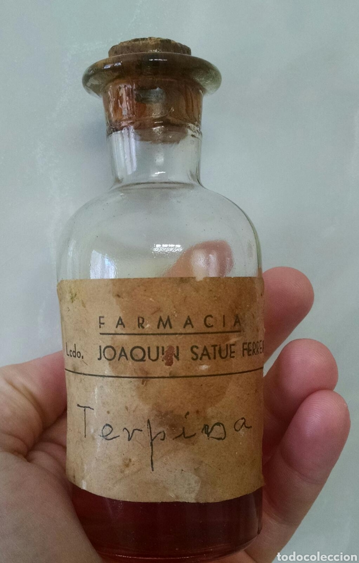 ANTIGUO FRASCO FARMACIA JOAQUIN SATUE FERRER TERPINA (Antigüedades - Cristal y Vidrio - Farmacia )
