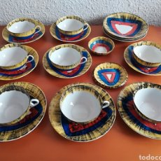 Antigüedades: VAJILLA CAFÉ DESAYUNO TAZAS PLATOS PORCELANA O CASTRO - ISAAC DÍAZ PARDO GALICIA SARGADELOS. Lote 120963412