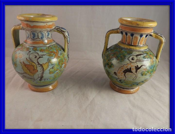 PAREJA ANFORAS CERAMICA TALAVERA DE NIVEIRO S. XIX (Antigüedades - Porcelanas y Cerámicas - Talavera)