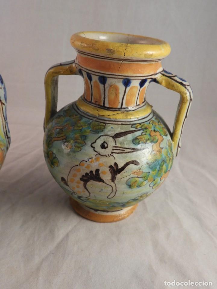 Antigüedades: PAREJA ANFORAS CERAMICA TALAVERA DE NIVEIRO S. XIX - Foto 9 - 120971787