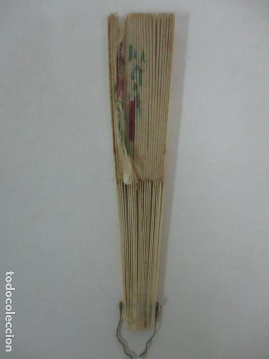 Antigüedades: Antiguo Abanico Isabelino - Hueso, Marfil - Paisaje Seda - S. XIX - Foto 3 - 120996179