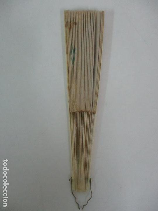 Antigüedades: Antiguo Abanico Isabelino - Hueso, Marfil - Paisaje Seda - S. XIX - Foto 7 - 120996179