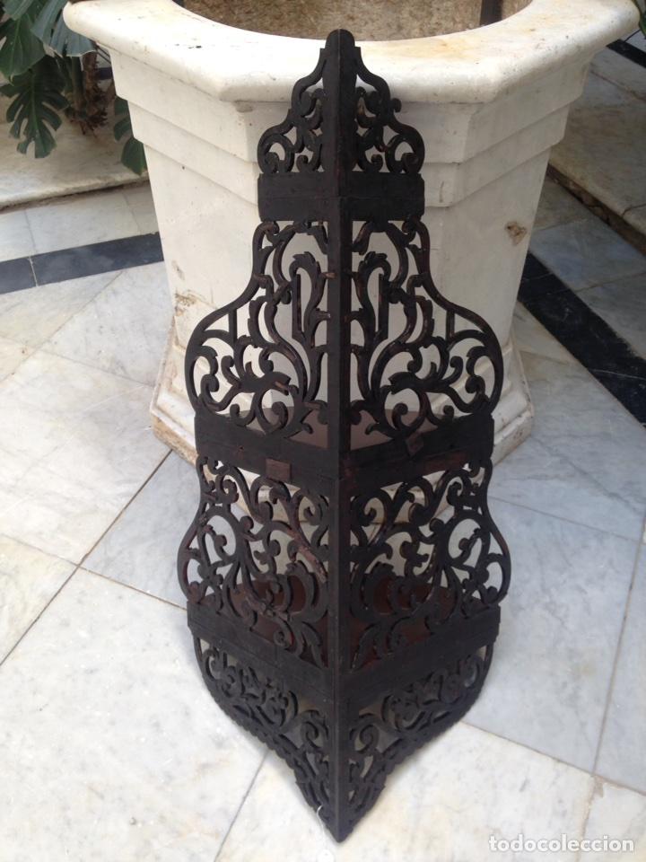 Antigüedades: Estantería rinconera, repisa de caoba siglo XIX, restaurada - Foto 7 - 121005755