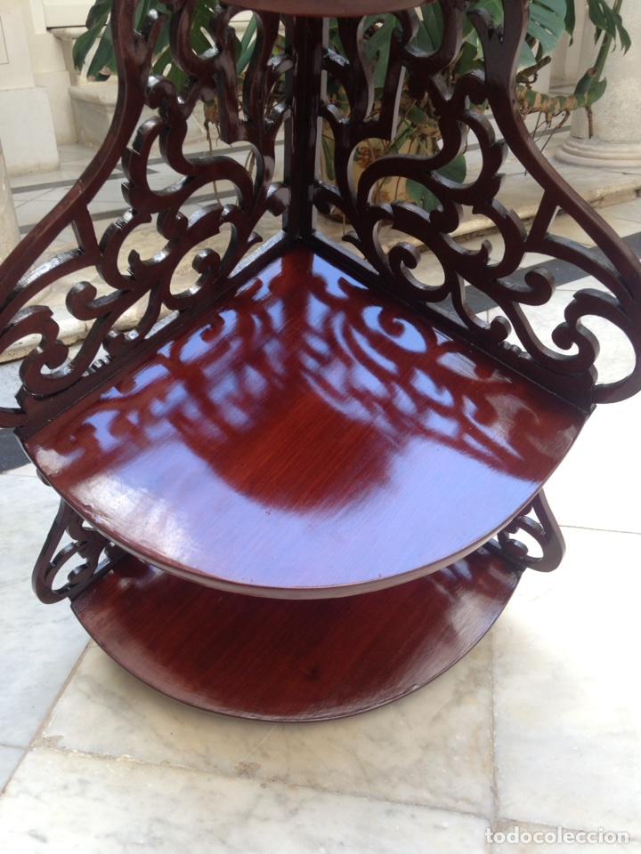 Antigüedades: Estantería rinconera, repisa de caoba siglo XIX, restaurada - Foto 12 - 121005755