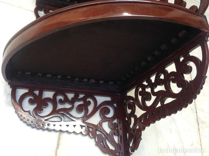 Antigüedades: Estantería rinconera, repisa de caoba siglo XIX, restaurada - Foto 18 - 121005755