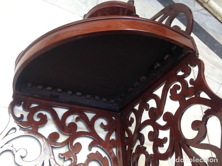 Antigüedades: Estantería rinconera, repisa de caoba siglo XIX, restaurada - Foto 19 - 121005755