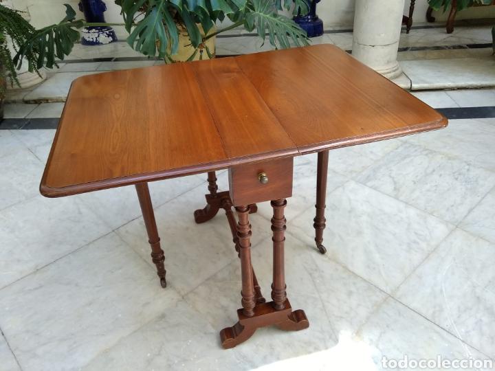 MESA DE ALAS DE CAOBA VICTORIANA SIGLO XIX (Antigüedades - Muebles Antiguos - Mesas Antiguas)