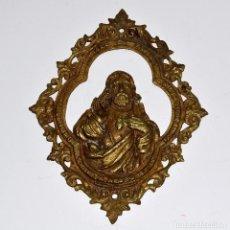 Antigüedades: BONITA PLACA DE LATÓN CORAZÓN DE JESÚS INSCRIPCIÓN REINARÉ EN ESPAÑA. Lote 121069007