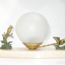 Antigüedades: LAMPARA ANTIGUA ART NOVEAU CIRCA 1900 CABLEADA NUEVA MARMOL BRONCE CRISTAL. Lote 121086655