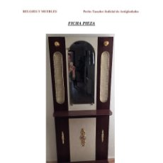 Antigüedades: RECIBIDOR EN MADERA, MEDIADOS DE SIGLO XX,. Lote 121105199