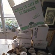 Antigüedades: JUEGO CAFE 12 SERVICIOS TAZAS Y PLATOS CAFETERA LECHERA AZUCARERO CERAMICA GALLEGA GALICIA PONTESA. Lote 121110503