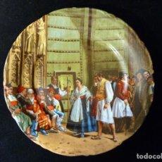 Antigüedades: ANTIGUO PLATO PORCELANA LITOGRAFIADA. TRIBUNAL DE LAS AGUAS, VALENCIA. LÁZARO, POSIBLEMENTE MANISES. Lote 121114891
