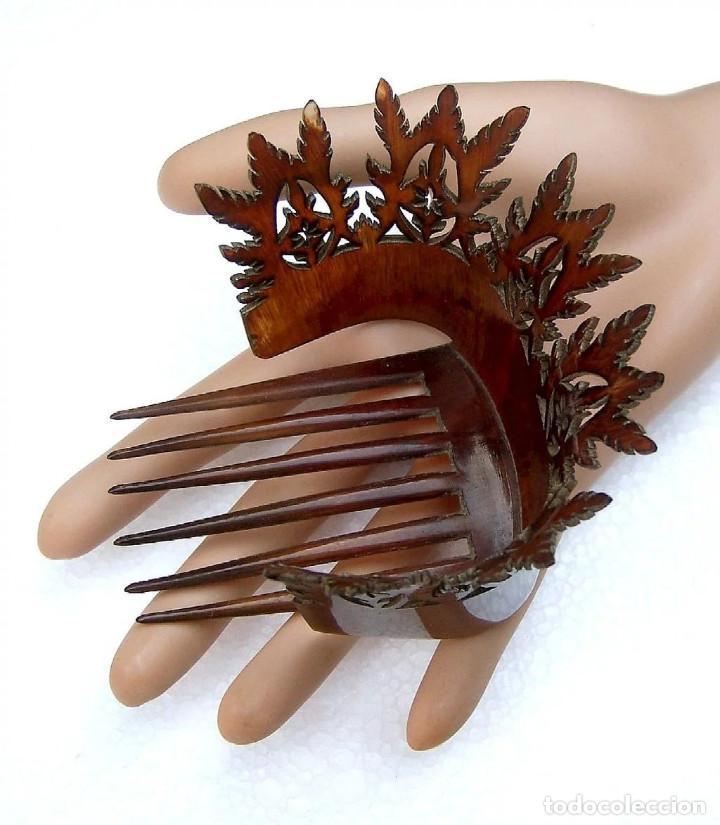 Antigüedades: Peineta de pelo en cuerno Accesorio de pelo de punta inusual - Foto 4 - 121146723