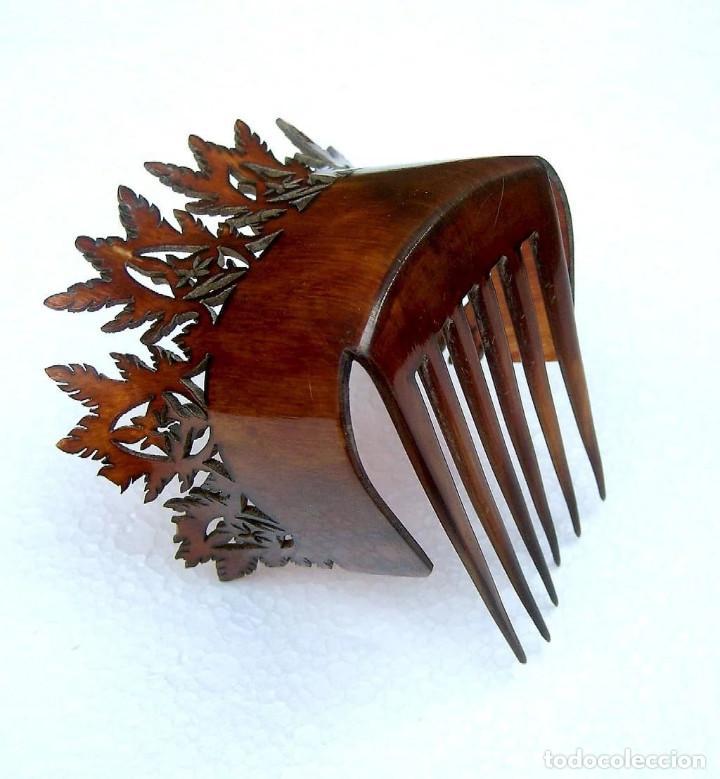 Antigüedades: Peineta de pelo en cuerno Accesorio de pelo de punta inusual - Foto 7 - 121146723