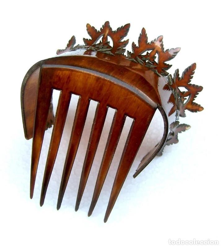 Antigüedades: Peineta de pelo en cuerno Accesorio de pelo de punta inusual - Foto 8 - 121146723