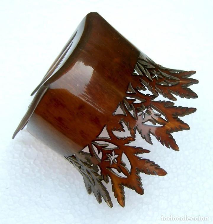 Antigüedades: Peineta de pelo en cuerno Accesorio de pelo de punta inusual - Foto 9 - 121146723