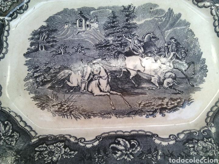 Antigüedades: BANDEJA FUENTE OCHAVADA.CAZA DEL TORO.LA AMISTAD.CARTAGENA.35X27X3CM. - Foto 2 - 120963004