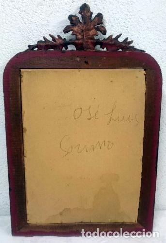 Antigüedades: Espectacular espejo isabelino de madera de pino aragonés en color cobre con copete. 80x62 cm. S.XIX - Foto 2 - 121168191
