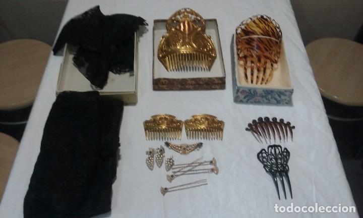Antigüedades: Lote peinetas y mantilla. - Foto 2 - 121168751