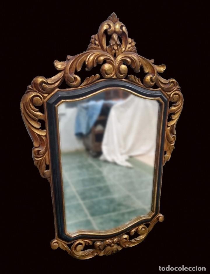 ANTIGUO ESPEJO IMPERIO. NAPOLEÓN III DE MADERA DORADO AL ORO FINO Y LACADO. SIGLO XIX.117X76CM (Antigüedades - Muebles Antiguos - Espejos Antiguos)