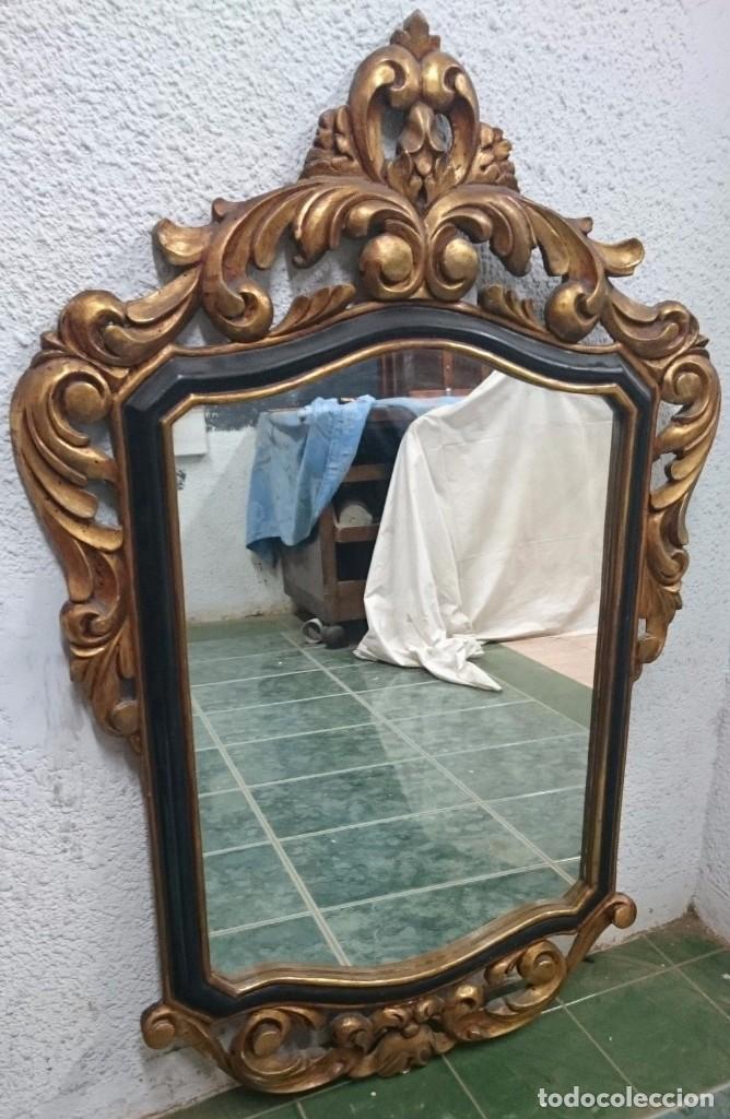 Antigüedades: Antiguo espejo imperio. Napoleón III de madera dorado al oro fino y lacado. Siglo XIX.117x76cm - Foto 2 - 121169991