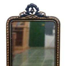 Antigüedades - Antiguo y espectacular espejo de madera Napoleón III, Imperio. Siglo XIX. Dorado al oro fino.106x74 - 121170523