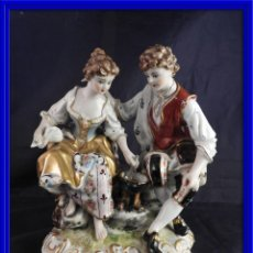 Antigüedades: FIGURA ROMANTICA DE PORCELANA ANTIGUA SAUTHIER. Lote 121178775