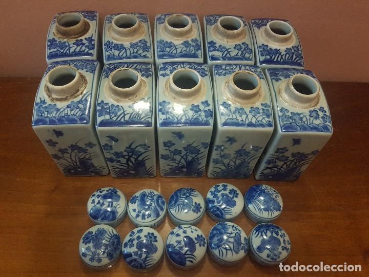 Antigüedades: botellas. porcelana. esmaltada a mano en azul.china - Foto 3 - 121179839