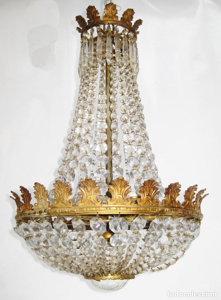 ELEGANTISIMA LAMPARA ANTIGUA ORIGINAL BOHEMIA TIPO SACO EN CRISTAL Y BRONCE CIRCA 1920 (Antigüedades - Iluminación - Lámparas Antiguas)
