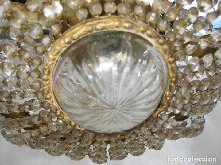 Antigüedades: ELEGANTISIMA LAMPARA ANTIGUA ORIGINAL BOHEMIA TIPO SACO EN CRISTAL Y BRONCE CIRCA 1920 - Foto 4 - 130460587