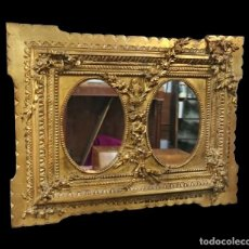 Antigüedades: ANTIGUO ESPEJO, CORNUCOPIA BARROCA DE MADERA DORADA AL ORO FINO CON MOTIVOS VEGETALES.S.XVIII. 95X71. Lote 121225035