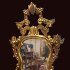 Antigüedades: ANTIGUO ESPEJO, CORNUCOPIA DE MADERA DE NOGAL DORADA AL ORO FINO. SIGLO XIX. 80X52CM. PALACIEGA. Lote 121231019