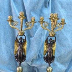 Antigüedades: PAREJA DE CANDELABROS ESTILO IMPERIO. S.XX. Lote 121233251