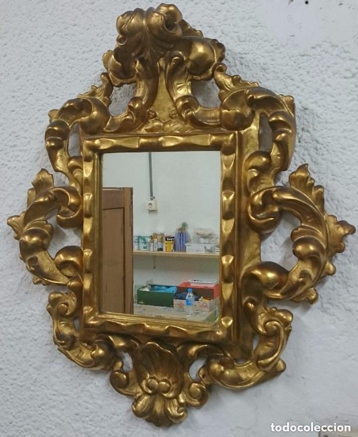 Antigüedades: Espectacular cornucopia, espejo dorado al oro fino en madera. Siglo XVIII. Perfecta. 69x61x10 cm - Foto 3 - 155206078