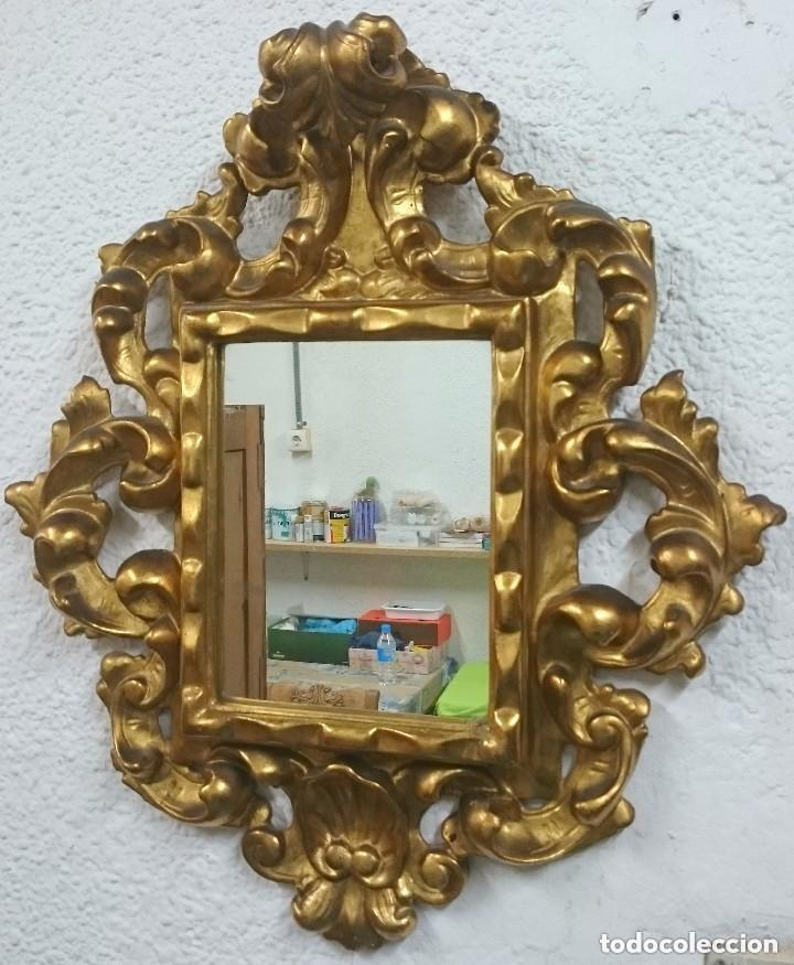 Antigüedades: Espectacular cornucopia, espejo dorado al oro fino en madera. Siglo XVIII. Perfecta. 69x61x10 cm - Foto 4 - 155206078