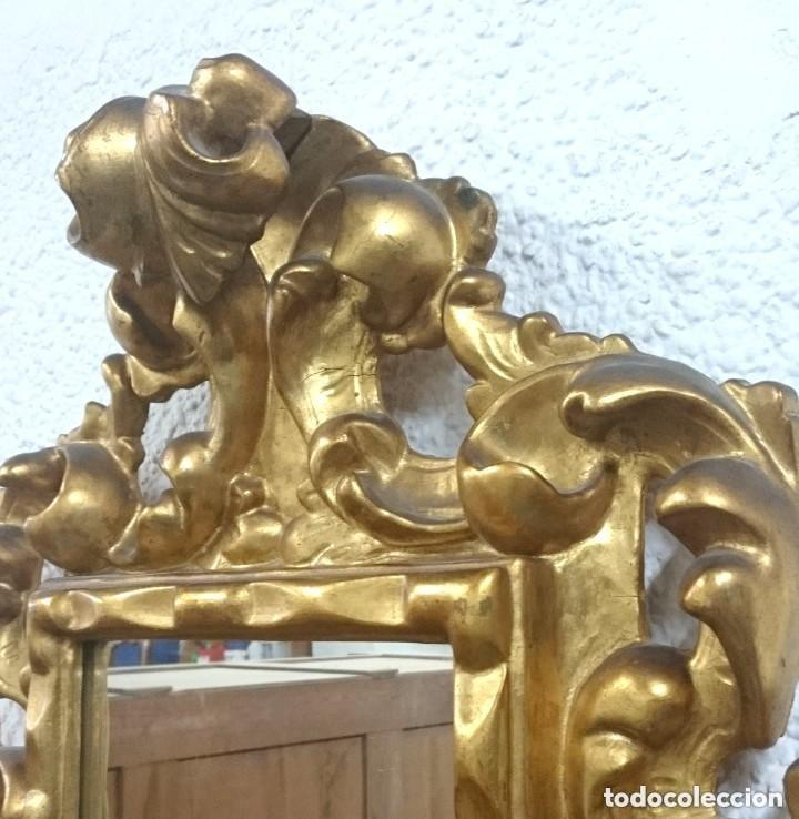 Antigüedades: Espectacular cornucopia, espejo dorado al oro fino en madera. Siglo XVIII. Perfecta. 69x61x10 cm - Foto 5 - 155206078