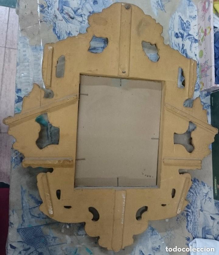 Antigüedades: Espectacular cornucopia, espejo dorado al oro fino en madera. Siglo XVIII. Perfecta. 69x61x10 cm - Foto 7 - 155206078