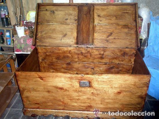 Antigüedades: Soberbio arcón o baúl de pino aragonés. Restaurado. 137x110x63cm - Foto 3 - 121238599
