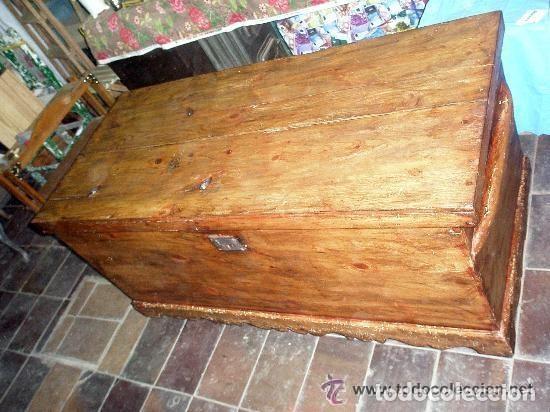Antigüedades: Soberbio arcón o baúl de pino aragonés. Restaurado. 137x110x63cm - Foto 5 - 121238599