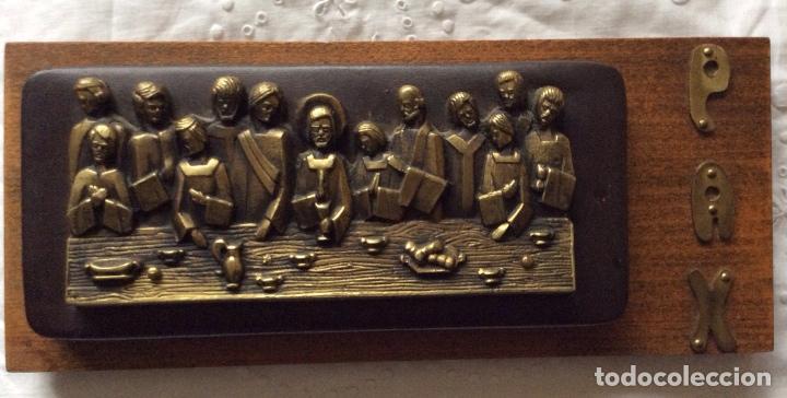 Antigüedades: SAGRADA CENA AÑOS 60 para colgar -de pequeño tamaño - Foto 6 - 121241107
