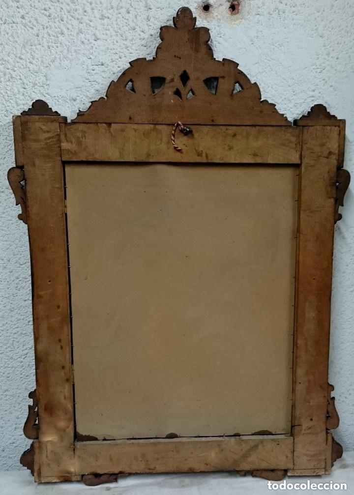 Antigüedades: Antiguo espejo de caoba cubana. Siglo XIX. Motivos vegetales. Espectacular!.100x75cm. Ver fotos - Foto 5 - 121344443