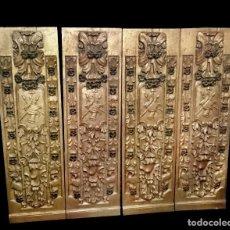 Antigüedades: ANTIGUA TABLA, ADORNO CON MOTIVOS VEGETALES. DORADO Y POLICROMADO. 173X55CM.RETABLO. ÚNICAS. Lote 121345059