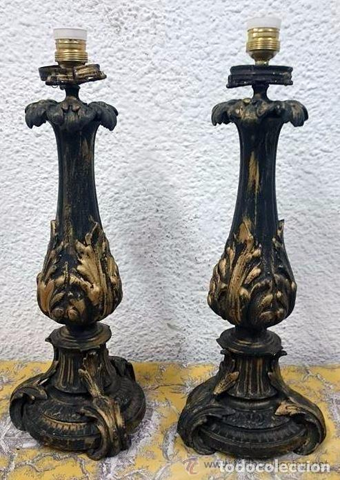 ANTIGUOS CANDELABROS DE BRONCE ESTILO IMPERIO, ELECTRIFICADOS PARA LÁMPARA. SIGLO XIX. 55 CM ALTO. (Antiques - Lamps and Lighting - Old Candlesticks)