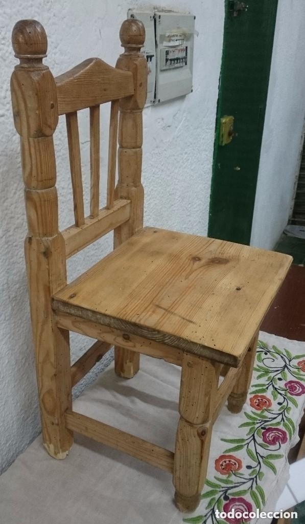 Antigüedades: Antigua silla de madera de pino de niños. Restaura. Única. 68x32x31 cm. Leer y ver fotos. Única - Foto 4 - 121346995