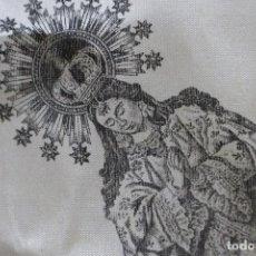 Antigüedades: CURIOSO PAÑUELO SEDA AÑOS 50' CON IMPRESIÓN ESTAMPADA DE NUESTRA SEÑORA DE BOTOA BADAJOZ.. Lote 121375947