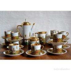 Antigüedades: ESPECTACULAR JUEGO DE 27 PIEZAS CAFE LIMOGES CON ADORNOS DORADOS * PAISAJE * ADORNO ECUESTRE. Lote 121376779