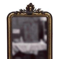 Antiquités: ANTIGUO ESPEJO NAPOLEÓN III,IMPERIO DE MADERA LACADO EN NEGRO Y DORADO AL ORO FINO.SIGLO XIX.95X64CM. Lote 129053326